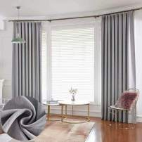 "Leadtimes Grey Thermal Blackout Curtain Panels 84 Inch Length Customized Metore Linen Decorative Grommet Drapes (Grey, 72"" W x 84"" L)"