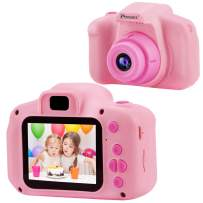 PROGRACE Kids Camera Children Digital Video Cameras for Girls Birthday Toy Gifts 4-12 Year Old Kid Action Camera Toddler 2 Inch IPS 1080P(Pink)