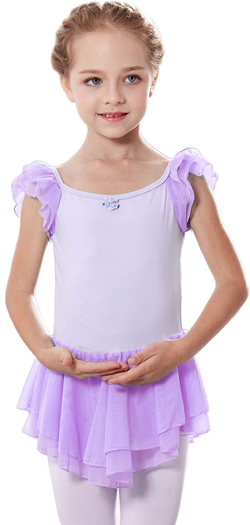MdnMd Girls' Flutter Sleeve Ballet Leotard Dress