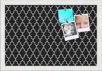 PinPix ArtToFrames 18x12 Custom Cork Bulletin Board. This Quatrefoil Black Pin Board Has a Fabric Style Canvas Finish, Framed in Satin White (PinPix-116-18x12_FRBW26074)