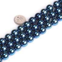"JOE FOREMAN Blue Metallic Coated Magnetic Hematite Gemstone Round Beads 12mm for Jewelry Making Strand 17"""