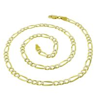 925 Italian Sterling Silver 3mm - 10.5mm Solid Figaro Diamond Cut Chain, FREE Microfiber Cloth, ITProLux Yellow Gold Plated Pave Link Necklace, Giorgio Bergamo