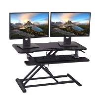 HUVIBE Height Adjustable Standing Desk Converter, 36 inch Stand Up Desk Riser, Sit Stand Desk for Dual Monitors and Laptops with Keyboard+Mouse Tray