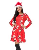Christmas Dresses for Women Long Sleeve Pullover Swing Flared Cocktail Party Dresses A Line Xmas Santa Midi Dress