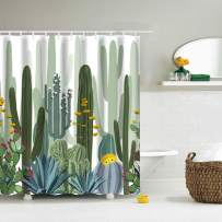IcosaMro Cactus Shower Curtain for Bathroom with Hooks, Tropical Watercolor Decorative Long Cloth Fabric Shower Curtain Bath Decorations- 71Wx72L, Green