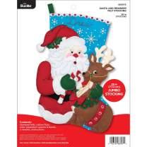 Bucilla 28-inch Jumbo Christmas Stocking Felt Applique Kit, 86897E Santa and Reindeer