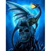 MXJSUA DIY 5D Diamond Painting Full Round Drill Kit Rhinestone Picture Art Craft for Home Wall Decor 12x16In Blue Skeleton Ghost and Dragon