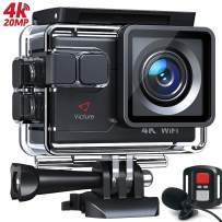 Victure AC700 4K 20MP Action Camera, PC Webcam with External Microphone Remote Control EIS Stabilization 40M Underwater Recording Camera, Sports Video Cam, 2 Batteries and Accessories Kit Included