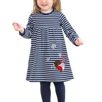 Girls Long Sleeves Striped Patchwork Animal Embriodery Cute Dresses Tunic Dress