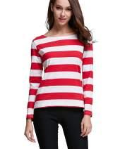 OUGES Women's Long Sleeve Stripe Pattern T-Shirts Slim Fit