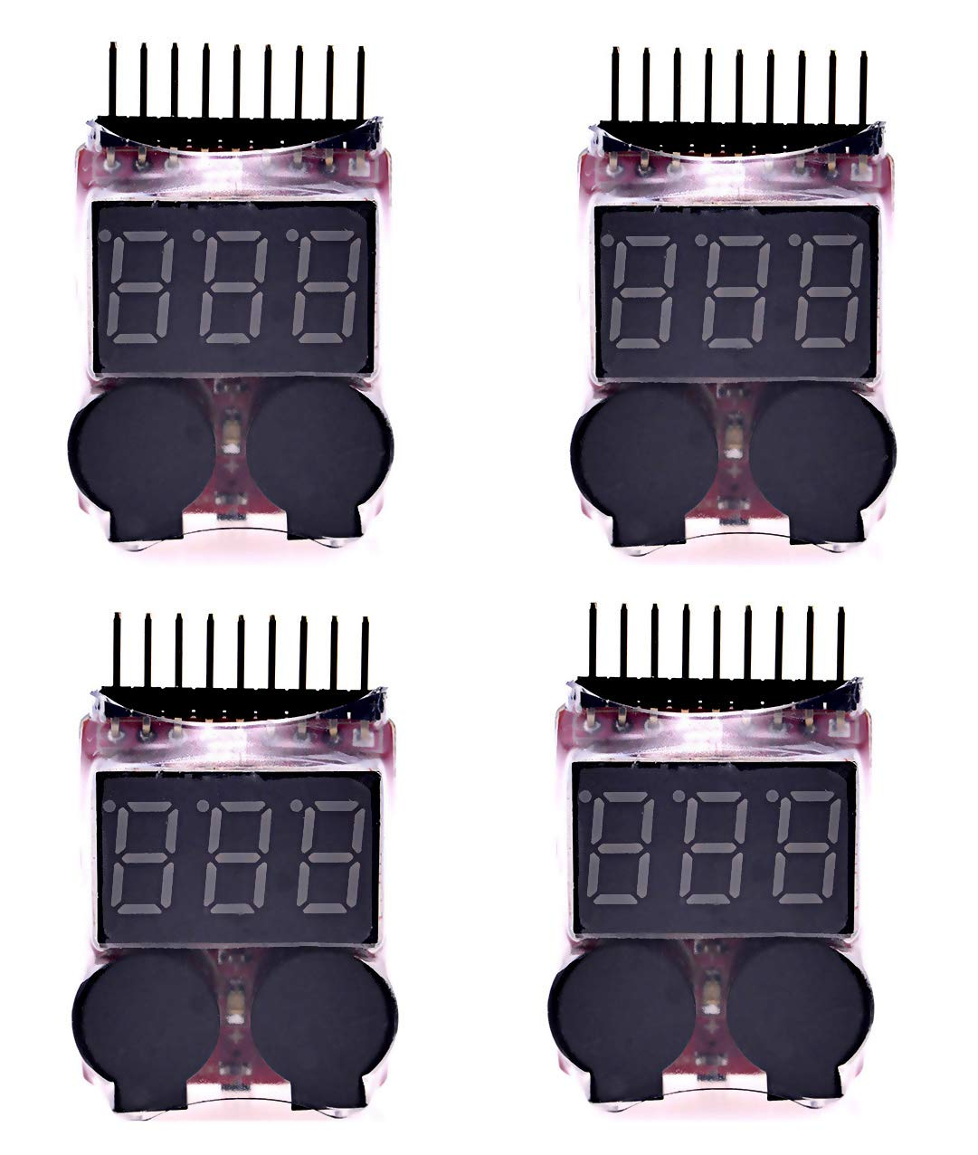 Readytosky Lipo Battery Voltage Tester Low Voltage Buzzer Alarm for 2-8S Lipo Life LiMn Li-ion Battery Checker Monitor(4PCS)
