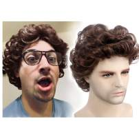 STfantasy Men Wigs Male Short Layered Curly Wavy Hair Daily Cosplay Party (12 Inches Brown)