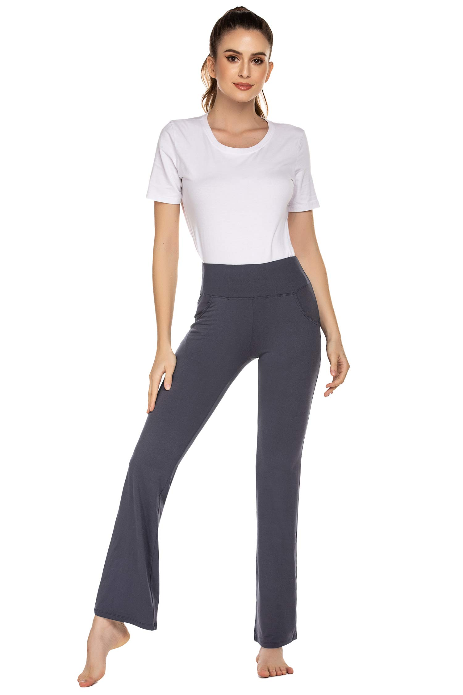 COOrun Women's Bootcut Yoga Pants High Waisted Workout Pants Tummy Control Bootleg Yoga Pants with Pockets