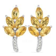 JewelPin Eden Leaf Shape Natural Gemstone Sterling Silver Earrings for Women