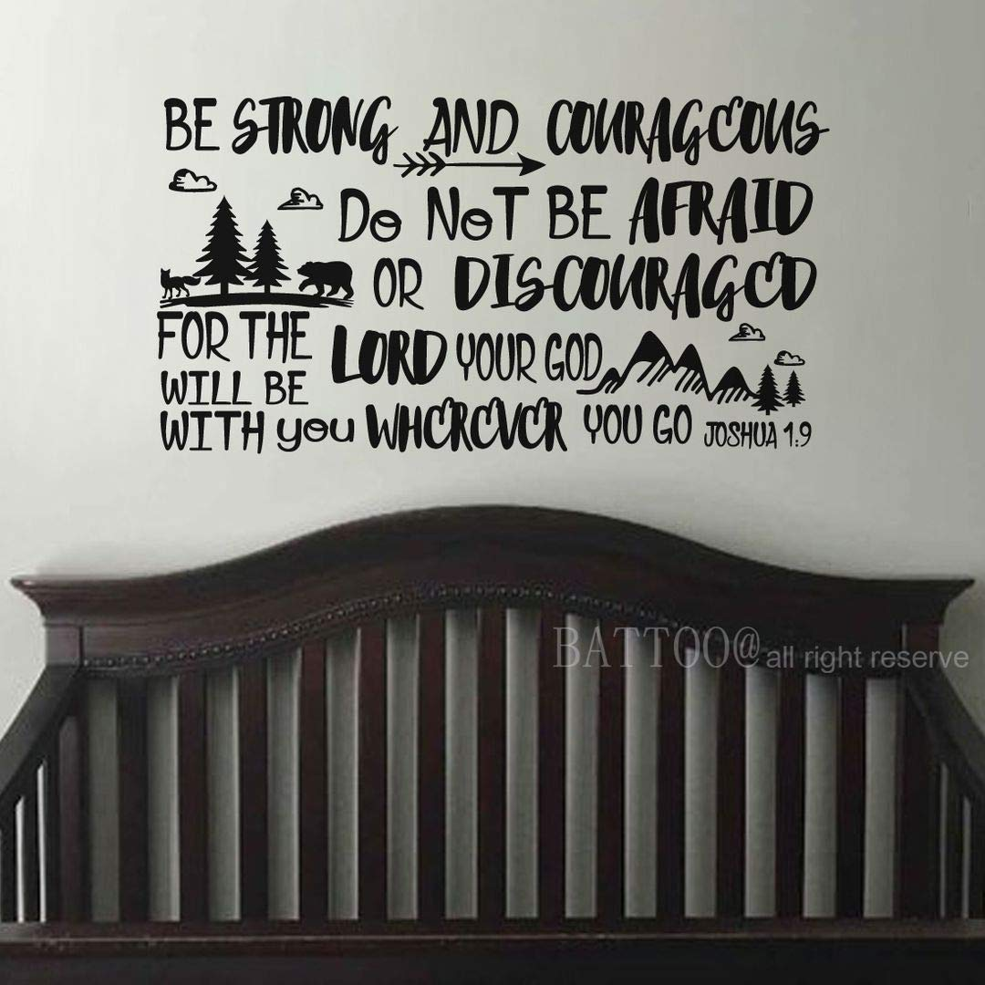 """BATTOO Be Brave Strong and Courageous- Joshua 1:9 Bible Scripture Wall Decal Quotes for Boys Room Boys Nursery Baby Room Vinyl Letters Inspirational Wall Decor(Black, 53"""" WX28 H)"""