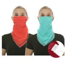 2 or 4 or 6 Pack Women Face Scarf Mask Chiffon Face Covers Filter Pocket Balaclava with Ear Loop and Snap