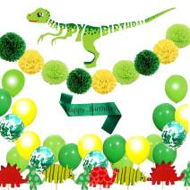 Dinosaur Birthday Party Decorations Balloon Garland Kit, softeen 55 Pcs of Dinosaur Party Decor for Kids Boys, Baby Shower, Banner, Cupcake Toppers, Balloons, Tissue Pom Poms, Birthday Strap