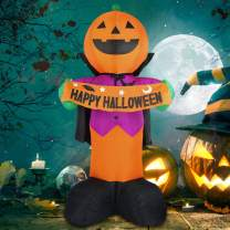 Fanshunlite Halloween 8FT Airblown Inflatable Pumpkin Knight Smile Face with Happy Halloween,Perfect for Home Outdoor Decoration by The Porch or Lawn