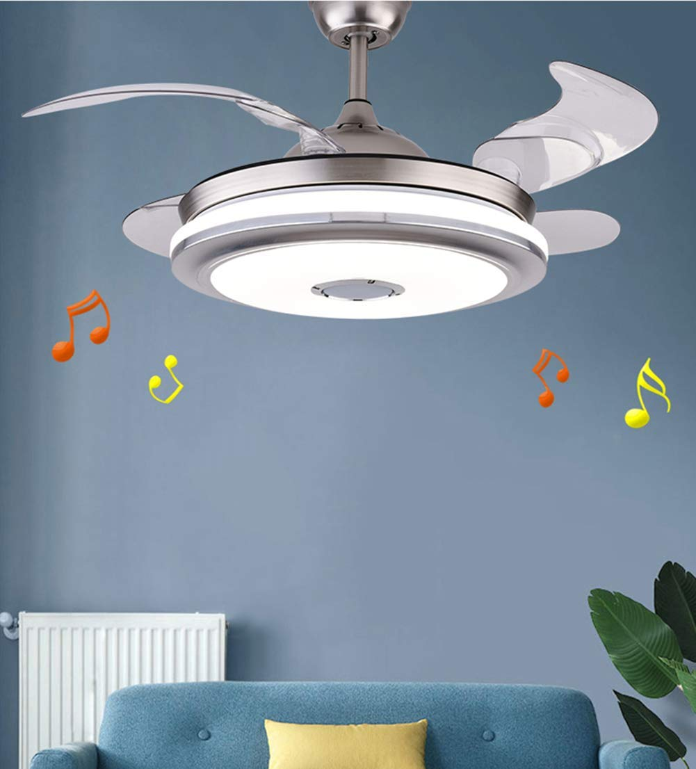"""Efperfect 42'' Modern Ceiling Fan with Light Smart Bluetooth Music Player Ceiling Fans Remote 3 Color Changes Invisible Blades Chandelier, Silent Motor with LED Kits Included (42"""" Classic-2)"""