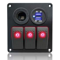 Iztoss 3 Gang Rocker Switch Panel with Power Socket 3.1A Dual USB Wiring Kits and Decal Sticker Labels DC12V/24V for Marine Boat Car Rv Vehicles Truck red led S701-B