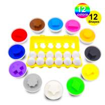 Skoolzy Matching Eggs - Color Sorting Toys for Toddlers - 12 Educational Learning Colors & Shape Recognition Skills Toy Egg Set - Shapes Puzzles for 18 Months, 2, 3 Year olds Boys, Girls