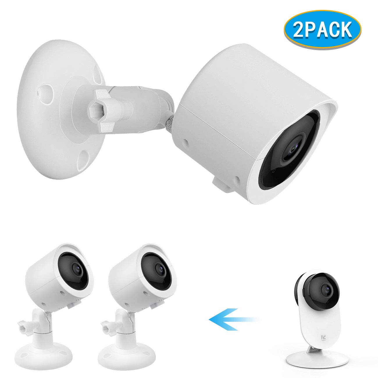 Wall Mount + Weatherproof Case for YI Home Camera - by Koroao - Indoor/Outdoor Security Bracket More Stable and Flexible (2-Pack, White)