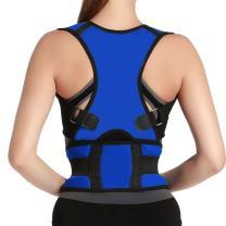 Lightweight Back Neck Shoulder Brace Support Upper Back Pain Relief Posture Corrector Strap for Cervical Spine Size XXL Blue