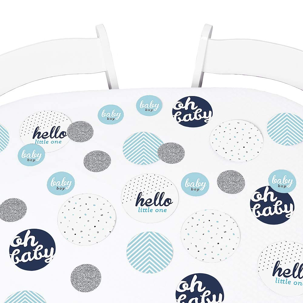 Big Dot of Happiness Hello Little One - Blue and Silver - Baby Shower Giant Circle Confetti - Boy Baby Shower Decorations - Large Confetti 27 Count