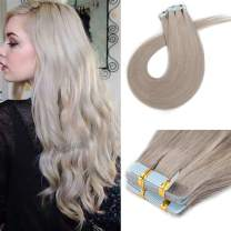 16 Inch Tape in Human Hair Extensions 100 Gram 40Pcs Grey Seamless Skin Weft Glue in Human Hairpieces Long Straight with Invisible Double Sided Tape