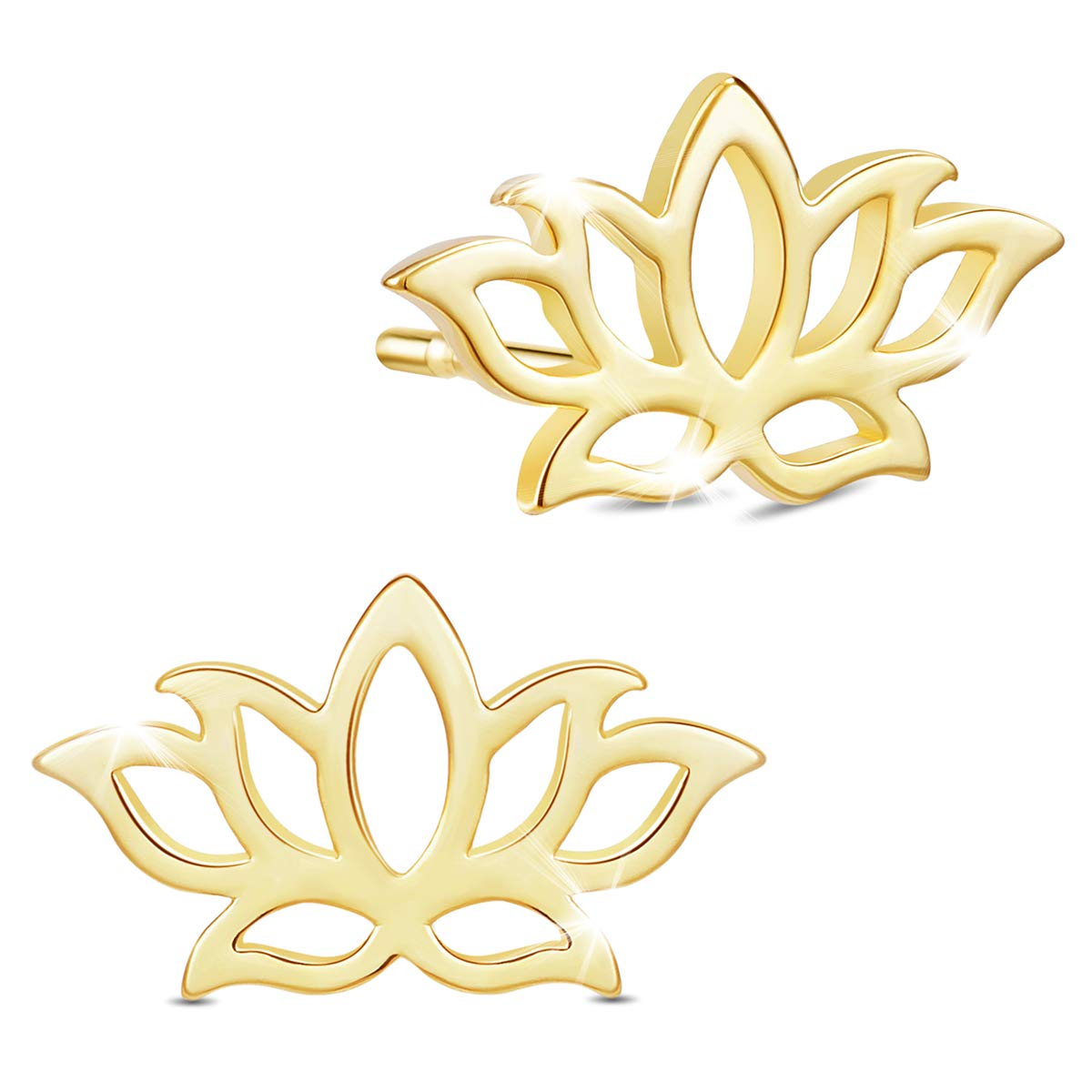 SHEGRACE Lotus Earrings Studs Earrings Jacket For Women 925 Sterling Silver 18K Gold plated Earring