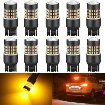 KATUR 7443 7444NA 7440 7440NA 992 Led Light Bulb Super Bright 900 Lumens High Power 3014 78SMD Lens LED Bulbs for Brake Turn Signal Tail Backup Reverse Brake Light Lamp,Amber(Pack of 10)