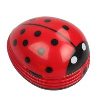 E ECSEM Cute Portable Beetle Ladybug Cartoon Mini Desktop Vacuum Desk Dust Cleaner(Red#002)
