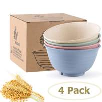 Snack Bowls,Set of 4 Rice Bowls,100% BPA-Free Wheat Straw Fiber Snack Bowls,Eco-friendly Safe Kitchen Bowl for Children Adult Support Microwave (24 oz-4pack)