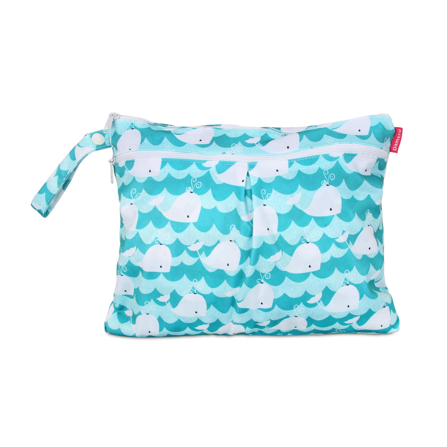 Damero Cloth Diaper Wet Dry Bag with Handle for Swimsuit, Pumping Parts, Wet Clothes and More, Ideal for Travel, Exercise, Daycare, Swimming, Reusable and Water-Resistant (Small,Cute Whale)