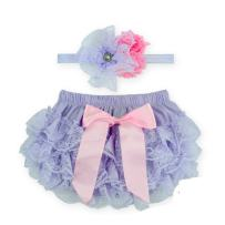 Toptim Baby Girl's Bloomer + Headband Set Lace Diaper Covers (2 Pack)