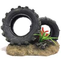 SLOCME Aquarium Tyre Decorations - Resin Material Tyre Decorations,Fish Tank Tyre Ornament Aquarium Environment Friendly Decorations