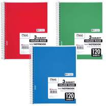 "Mead Spiral Notebook, 3 Subject, College Ruled Paper, 120 Sheets, 10-1/2"" x 8"", Color Selected For You (05748)"