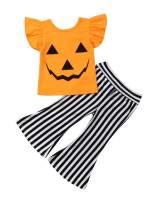 VISGOGO 1-6 Yrs Toddler Baby Kid Girl Outfit Halter T-Shirt Top + Flared Pants Clothes Set