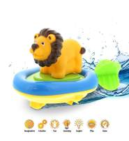 Dollibu Boat Racer Buddy, Fun Educational Bath Toy Finger Puppet Pull and Go Water Racing Safari Pal for Shower Pool Bathtub Swim Hard Surfaces for Baby Toddler and Boy - 6 Inch - 3 in 1 Game - Lion