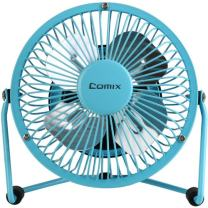 "Comix Mini Personal Desktop Fan, 4"", Metal Design, Quiet Operation, Air Radiator for Laptop,USB Cable Powered, Blue (L602)"