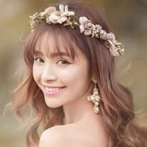 Edary Boho Flower Wreath Crown Wedding Garland Headband Seaside Floral Hair Accessories for Women and Girls(Brown)