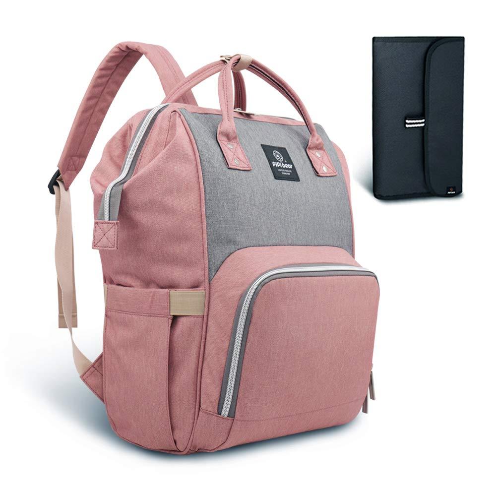 Diaper Bag Travel Backpack - Pipibear Large Baby Nappy Bag Organizer Waterproof (Gray Pink)