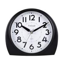 """5.5"""" Silent Analog Alarm Clock Non Ticking, Gentle Wake, Beep Sounds, Increasing Volume, Battery Operated Snooze and Light Functions, Easy Set, Black (Best for Elder)"""