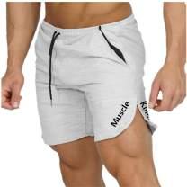Muscle Killer Men's Solid Gym Workout Shorts Bodybuilding Running Loose Training Jogging Short Pants with Zipper Pocket