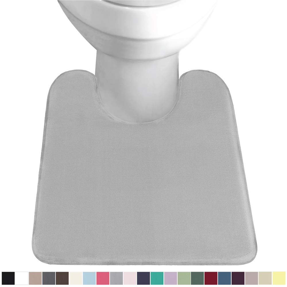 Gorilla Grip Original Thick Memory Foam Contour Toilet Bath Rug 22.5x19.5, U Shape, Soft Cushion Floor Mats, Absorbent Cozy Bathroom Mat Rugs, Machine Wash and Dry, Plush Bath Room Carpet, Soft Gray