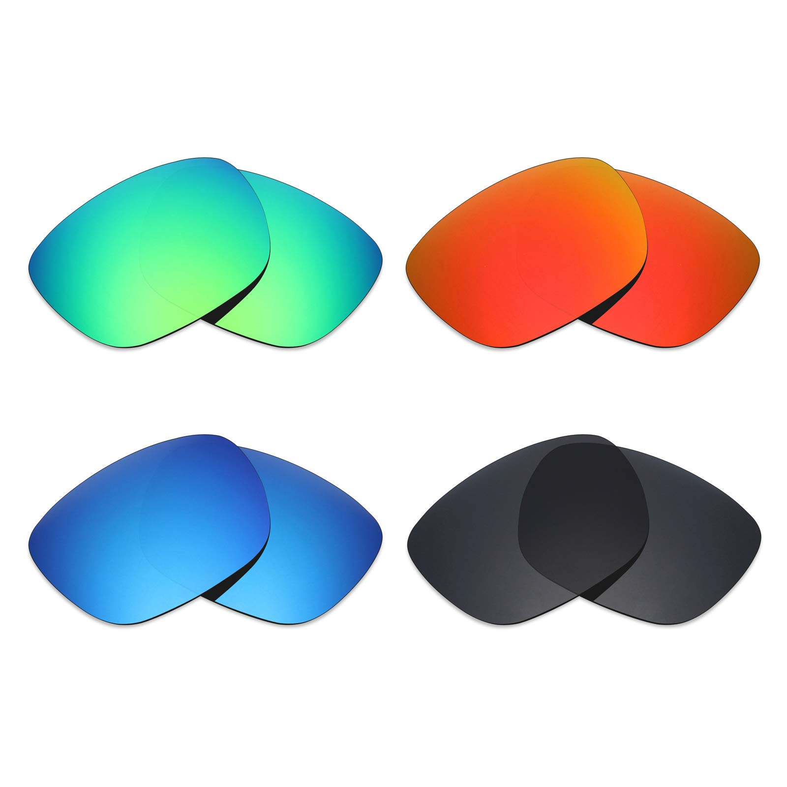 Mryok 4 Pair Polarized Replacement Lenses for Electric Knoxville Sunglass - Stealth Black/Fire Red/Ice Blue/Emerald Green