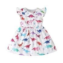 Ritatte Toddler Baby Girl Dinosaur White Short Sleeve Dress Ruffle Sleeve Summer Casual Dress