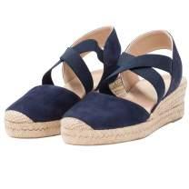 PiePieBuy Womens Espadrille Platform Wedge Sandals Closed Toe Mid Heel Ankle Sandals