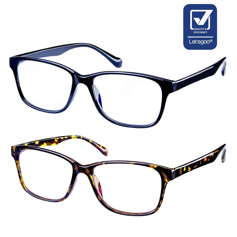 Blue Light Blocking Glasses 2 Pack Rectangle Glasses Sleep Better, Reduce Eyestrain & Fatigue When Gaming, Tablet/Phone Reading, TV (Twilight and Black)