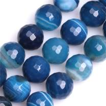 GEM-Inside Natural 14mm Banded Blue Agate Gemstone Loose Beads Round Faceted Energy Power Beads for Jewelry Making 15""